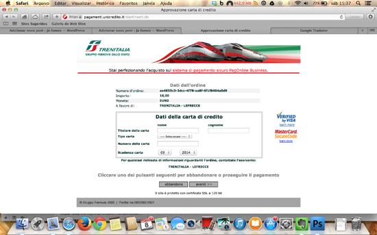 A página do cartão de crédito.