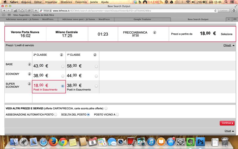 Escolha qual categoria ir. Aqui vc pode ver que a segunda classe está com preço promocional de €18,00.