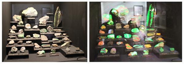 Pedras fluorescentes quando luz ultra-violeta as atinge...