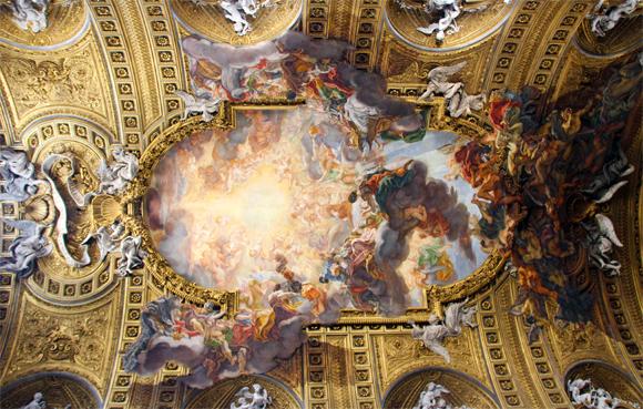 O teto da Chiesa del Gesú - o pescoço sai com dor de tanto tempo admirando esta obra de arte.