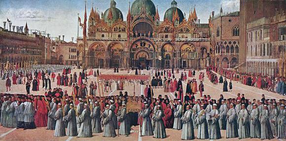 A Procissão na Piazza San Marco de Gentili Bellini, 1495. Localizado na Gallerie della Accademia. Veneza.