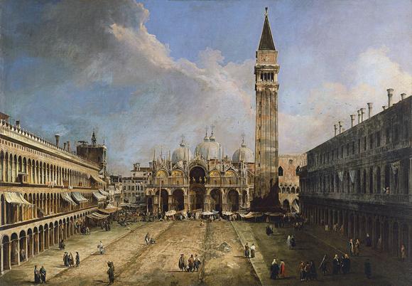 Canaletto, outro artista veneziano que retratava muito sua terra natal em suas obras. Piazza San Marco in Venice. Museu Thyssen-Bornemisza - Madrid.