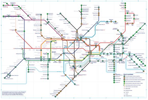 O mapa de metrô de Londres. Veja um mapa das estações acessíveis aqui.