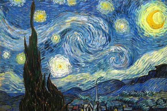 Noite Estrelada de Vicent Van Gogh, pode ser visto em exposição no Museum of Modern Art (MoMA) de New York.