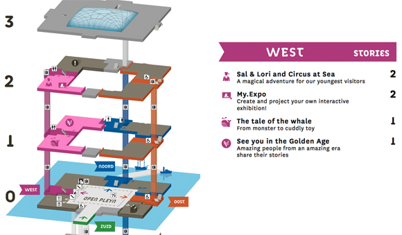 Mapa do Pavilhão Oeste, destacado de rosa. Para ver o mapa completo, clique aqui.