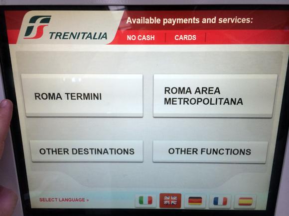 Tela inicial, é só selecionar Roma Termini