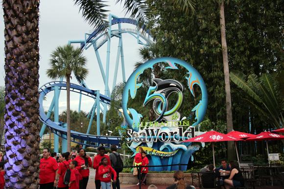 A entrada, comemorando os 50 anos do parque.