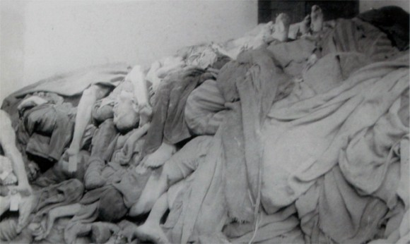 Foto tirada pelo exercito norte ameixano no dia da libertação. Centenas de corpos em decomposição esperando ser cremados.