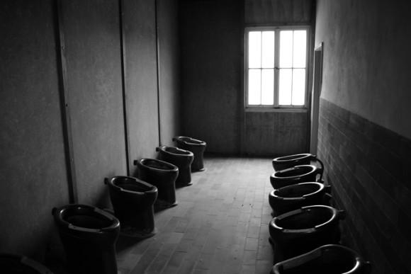 Os banheiros eram compartilhados.